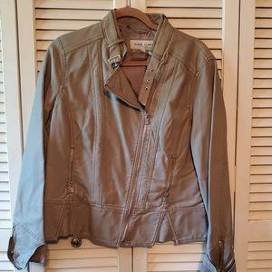 Black Rivets Faux Leather Jacket